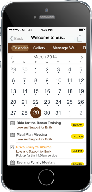 Livestrong Rally Calendar Screenshot